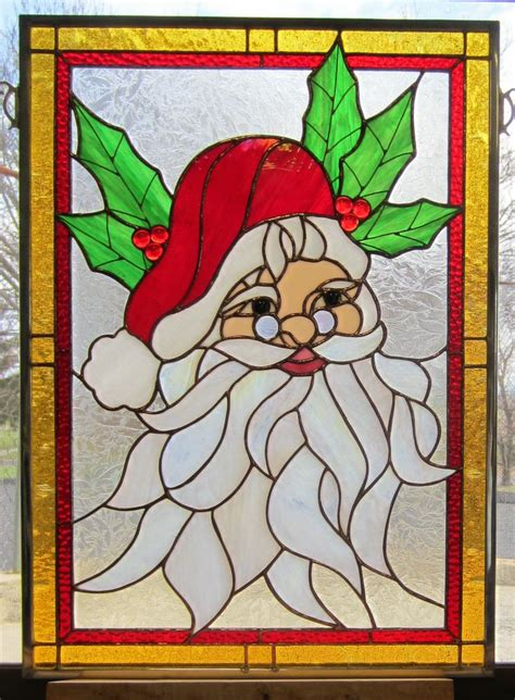 christmas pattern stained glass adorable stained glass santa window christmas sg