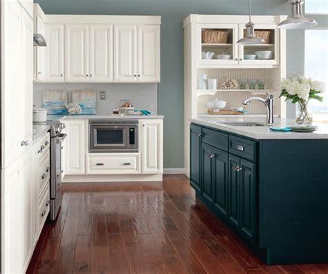 White Glazed Cabinets with Blue Kitchen Island   Homecrest