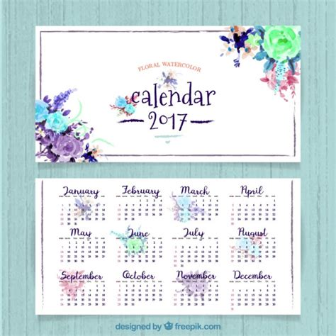 Calendã Mes De Outubro 2017 Pretty 2017 Calendar Of Watercolor Flowers Vector Free