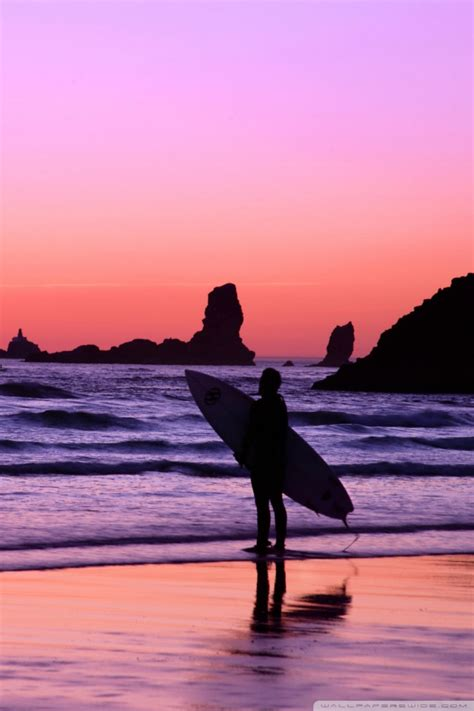 surfer  sunset cannon beach oregon  hd desktop