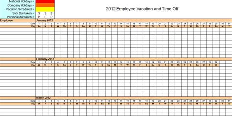 4 Vacation Schedule Templates Excel Xlts Employee Vacation Schedule Template
