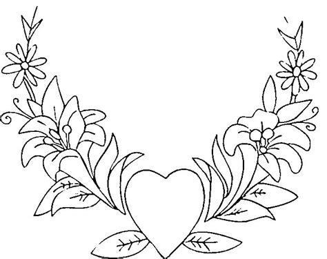 fiori da colorare e stare disegno da colorare corona con cuore e fiori