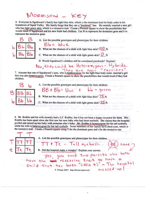 Genetics Worksheet Answers by Bottom Dihybrid Crosses Answers Pdfbikini Bottom