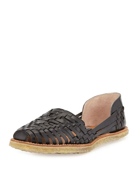 black huarache sandals toms leather huarache flat sandal black neiman