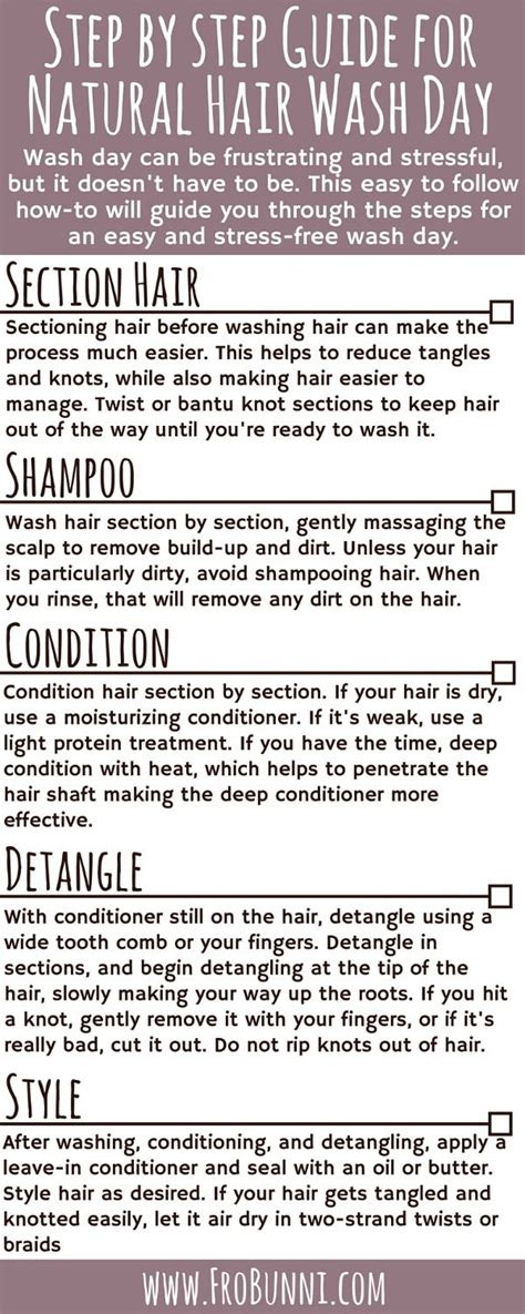 step by step natural hair guide diy hair care tips frobunni step by step guide for