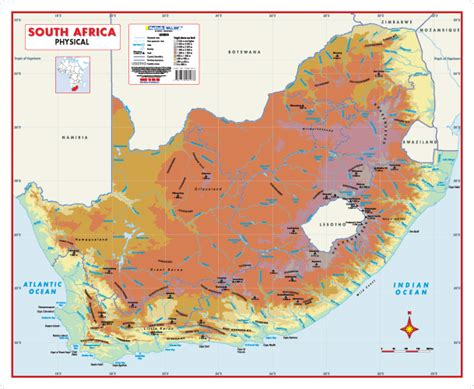 south africa physical map south africa physical educational wall map mapstudio