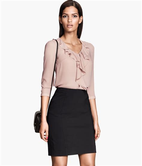 Layla S Brand Collection H M Blouse 1 lyst h m pencil skirt in black