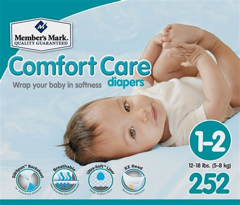 newborn comfort nursing member s mark comfort care baby diapers size 1 2 252 ct