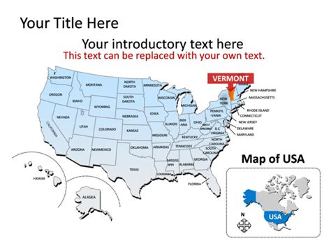 usa map you can color powerpoint slide map of vermont multicolor tg186
