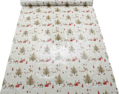 christmas pattern oilcloth xmas vintage christmas santa cotton wipeclean pvc
