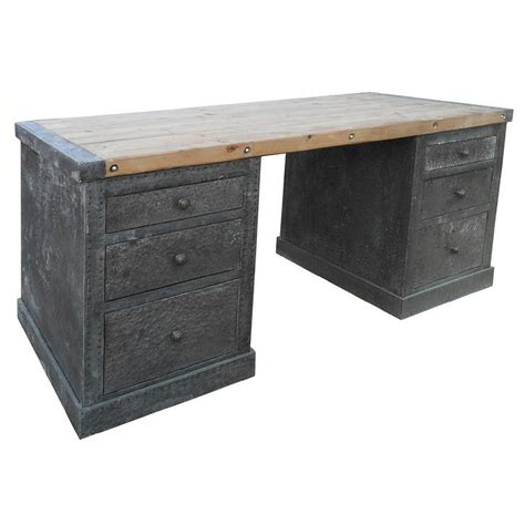 hammered zinc desk with wood top