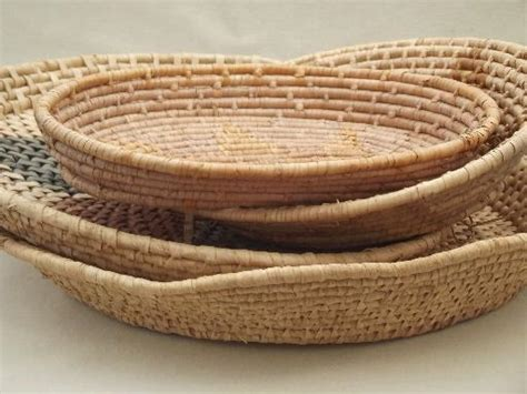 Baskets Handmade - vintage handmade baskets lot of coiled basket bowls and trays