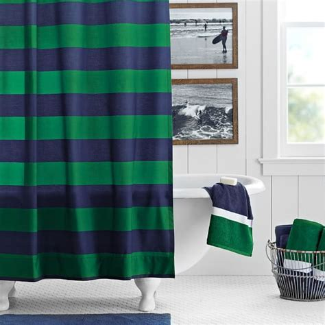 rugby stripe curtains rugby stripe shower curtain navy green pbteen