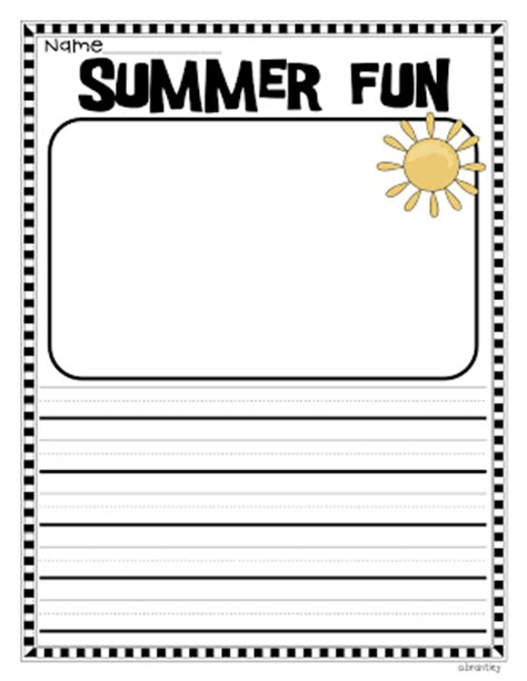 summer writing paper template for grade back to school the day in