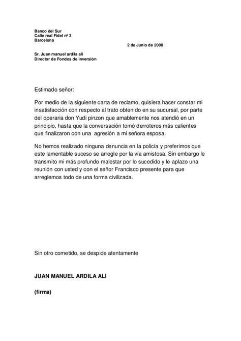 carta formal de reclamacion carta de reclamo banco
