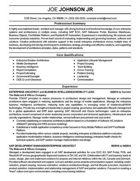 Resume Summary Exles Architect professional enterprise architect templates to showcase your talent myperfectresume