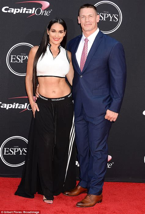 nikki bella you can look nikki bella shows off ripped abs with john cena at espys
