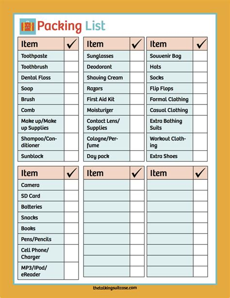 3 printable cruise packing list authorization letter