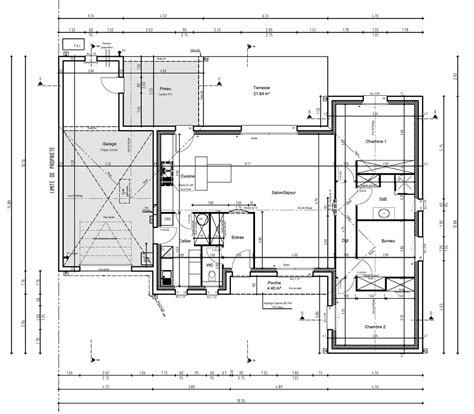 plan maison 3 chambres 1 bureau plan maison bois kit plain pied chambres terrasse la vue