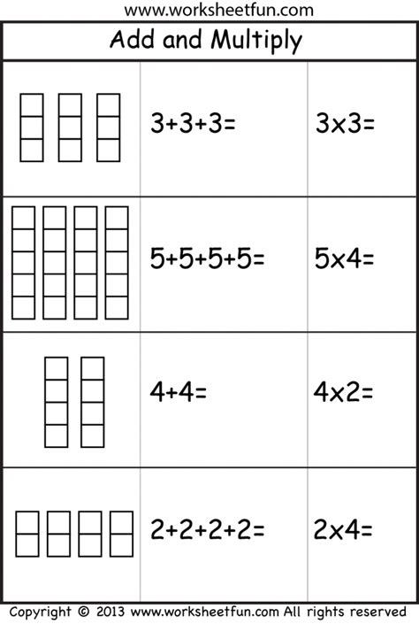 Repeated Addition And Multiplication Worksheets multiplication add and multiply repeated addition two