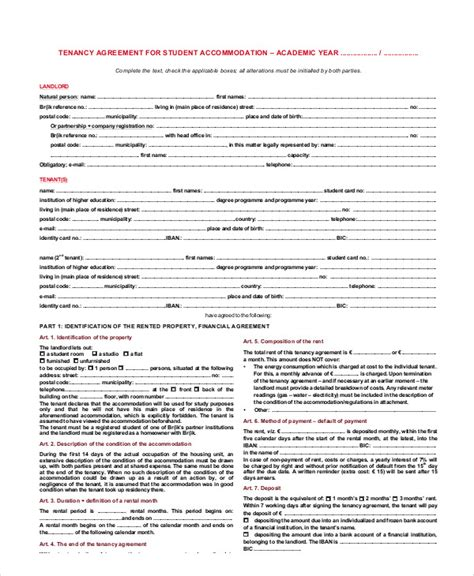 student contract template student agreement contract sle 7 exles in word pdf