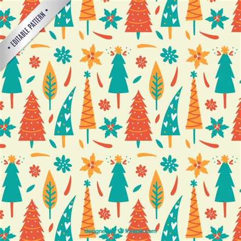 cute christmas pattern cute christmas trees pattern vector premium download