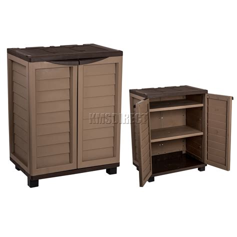 Plastic Outdoor Storage Cabinet Starplast Outdoor Plastic Garden Utility Cabinet With 2 Shelves Storage Mocha Ebay