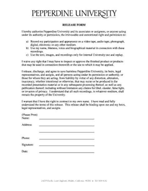 appearance release form template appearance release form templates fillable printable