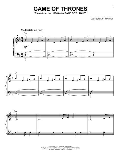 Tutorial Piano Game Of Thrones | game of thrones sheet music by ramin djawadi easy piano
