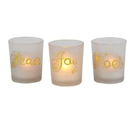 Candle Accessories Glass Peace Noel Frosted Glass Tea Light Candle Holders Set
