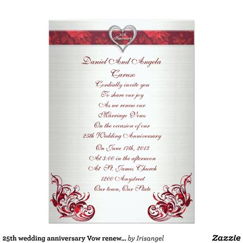 wedding vow renewal invitation ideas 25th wedding anniversary vow renewal invitation zazzle