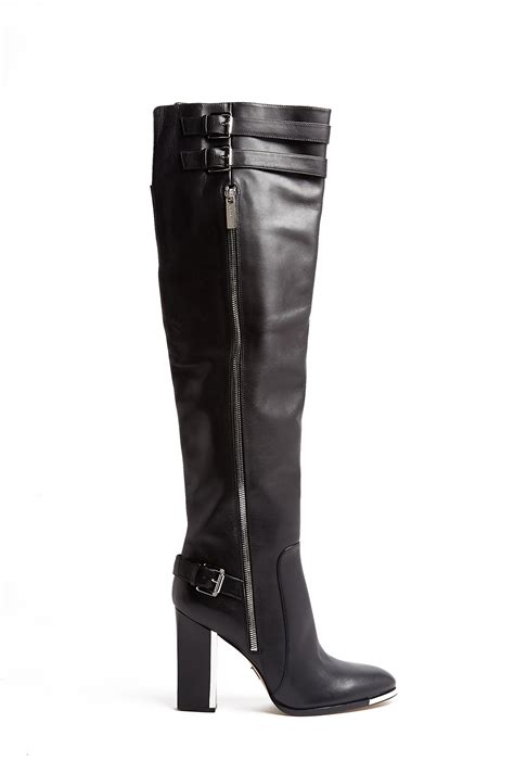michael kors high heel boots michael kors jayla metal heel buckle knee high boots in