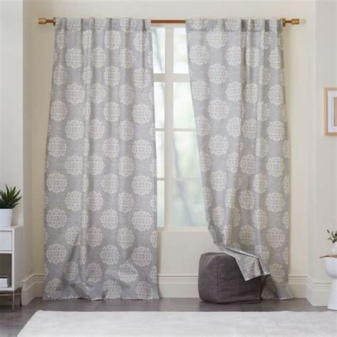 cotton canvas curtains cotton canvas scroll medallion curtain feather gray