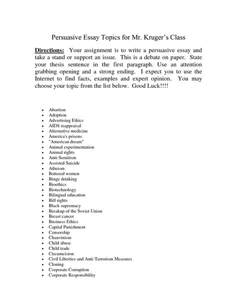 Argument Topics For Essay by Persuasive Essay List Topics