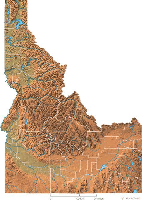 idaho physical map map of idaho