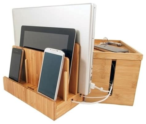 small charging station bamboo multi charger and cord cubby combo small