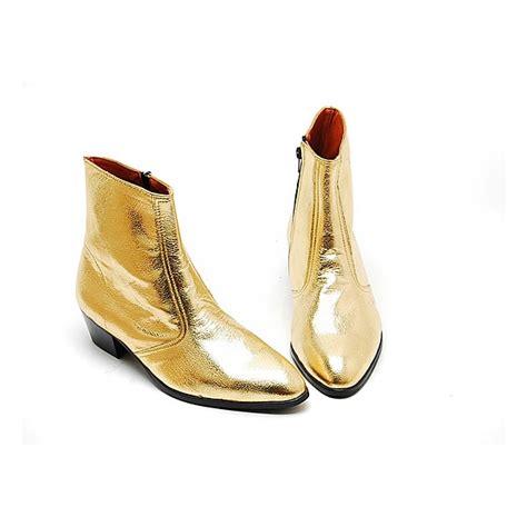 mens glitter gold western zipper mid calf ankle boots