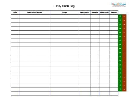 bank deposit log template search results for daily money ledger template