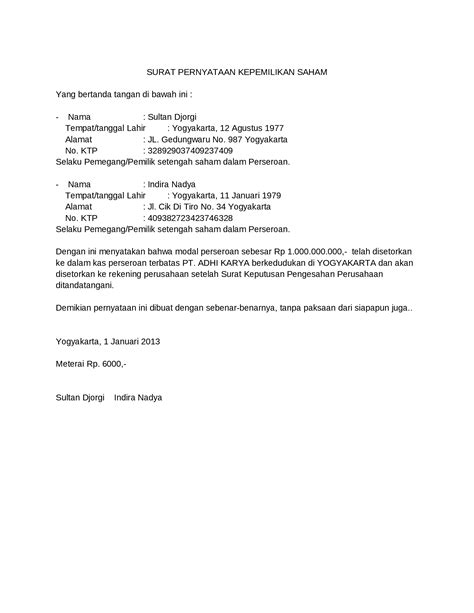 format surat pernyataan ipdn 2015 contoh surat pernyataan kepemilikan saham documents