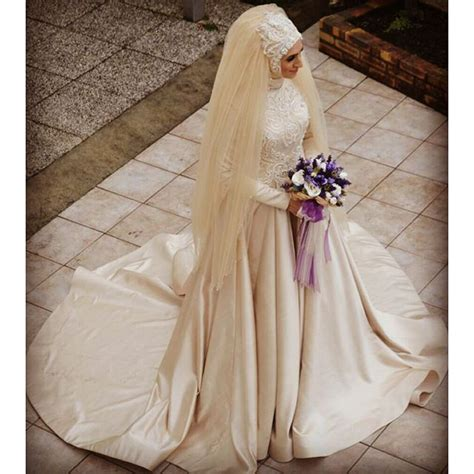 long sleeve champagne colored ball gown muslim wedding