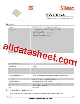 pdt stanley sw1305a datasheet pdf stanley electric co ltd