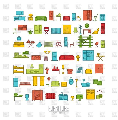 furniture and home decor furniture and home decor icon set vector image of icons