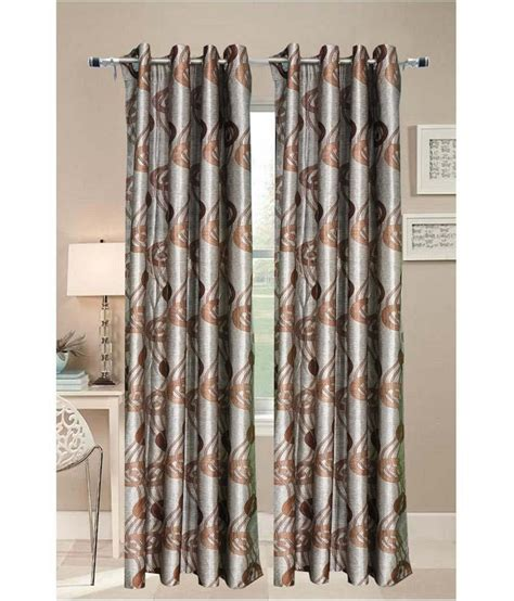 Brown And Gray Curtains Welhouse India Brown And Gray Polyester Door Curtain Set Of 2 Buy Welhouse India Brown And
