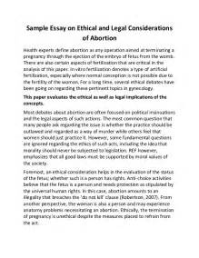 Ethics Essay Exle by Sle Essay On Ethical And Considerations Of Abortion