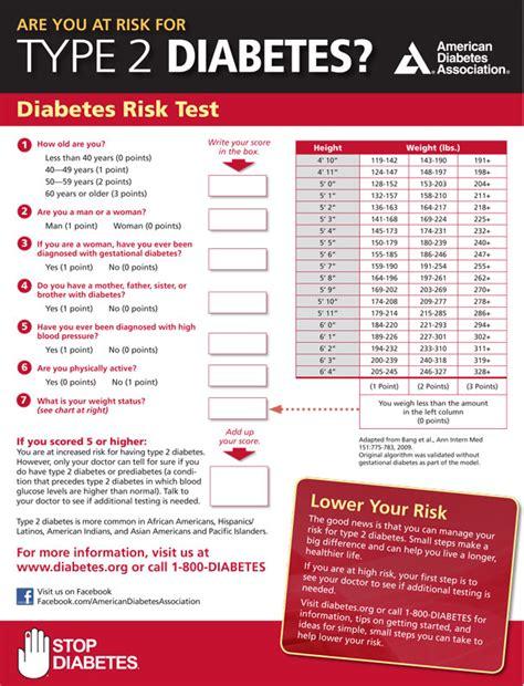 Printable Diabetes Quiz | diabetes risk test the dr oz show