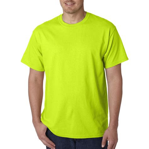 safety green color gildan 5000 heavy cotton t shirt