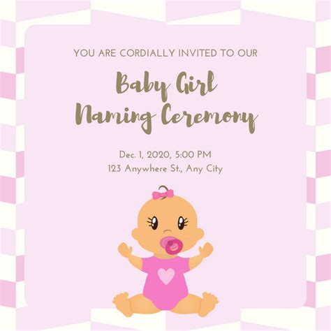 Invitation Letter Format For Naming Ceremony you are cordially invited template pink gold ba nami with baby naming ceremony