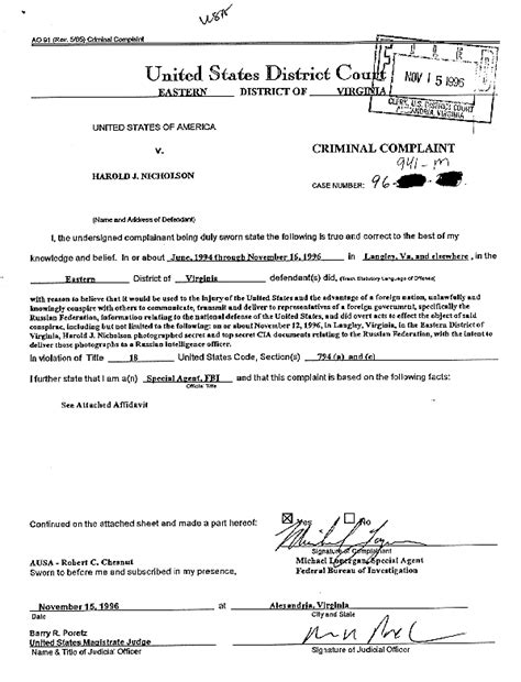 Arrest Warrant Search Washington State Washingtonpost Fbi Affidavit U S V Harold J Nicholson