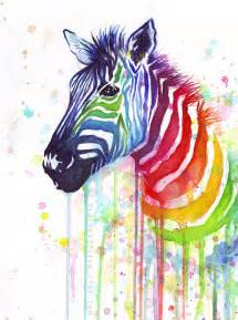 colorful zebra watercolor painting rainbow zebra colorful animal by