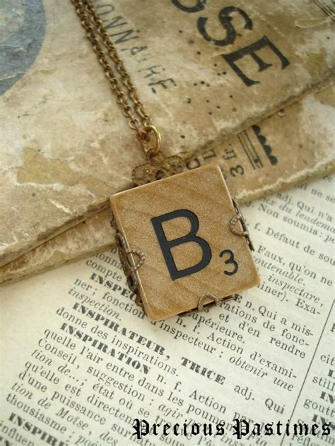 scrabble b vintage scrabble tile necklace letter b necklace in